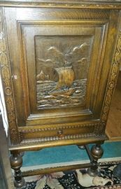 Breton/Brittany Style Carved Wooden Wine/Liquor Cabinet