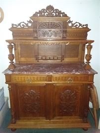 Beautiful Two Piece French Breton/Brittany Style, Marble Top Server/Cabinet