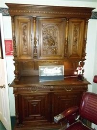 Two Piece French Breton/Brittany Style Server/Cabinet, Carved