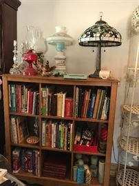 Oil Lamps, Table Lamps, Stained Glass Style Shade Lamp and Cubby Storage Shelf, Books and Cookbooks