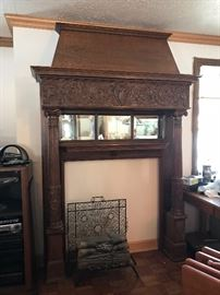 Large Ornate C. 1800's Scottish Fireplace Mantle Mantel with beveled glass. Brought over directly from Scotland