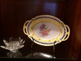 crystal candle holder     vintage oblong bowl