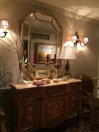French buffet with Onyx top   lamps  pair of matching chairs   ( mirror is not for sale)