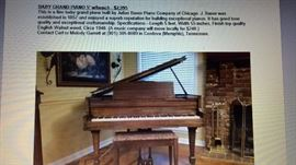 BABY GRAND PIANO 5' WITH BENCH  $2995    located at a different location please call Carl or Melody Garrett for more information and to make an appointment 901-385-0089