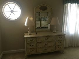 French Provincial Dresser with mirror.  Vintage lamps for sale too.