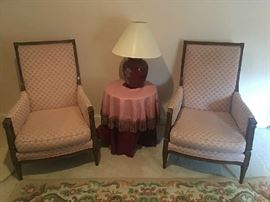 Two vintage pink wing back chairs.  Table and lamp also for sale.  Notice Oriental too.  Also for sale.
