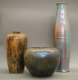 Pewabic Art Pottery,  LCT Tiffany Pottery vase (on left)