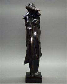 """Josef Csaky, Hungarian, 1888-1971, Cubist Bronze sculpture, """"Embrace""""  Blanchet Foundeur, """"A/C  E. A. 1"""" 20 1/2"""" high"""