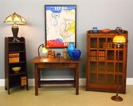 May 12th Arts Crafts, Gustav Stickley Bookcase (Model 715) Roycroft magazine pedestal,  Handel lamps, Steuben Intarsia shades, Descending Panther Bronze by Anna Hyatt Huntington, James C. Harrison painting, Pewabic Art pottery
