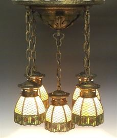 Handel chandelier with signed shades