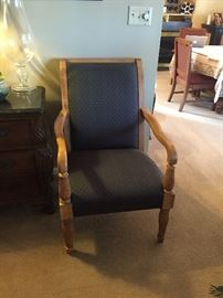 Two matching pecan wood with dark blue upholstery arm chairs.  Excellent condition, barely used