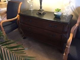 3 drawer bombay chest, marble top, made by Hooker Seven Seas Collection, excellent condition.