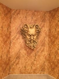 Greek God resin wall sculpture with enclosure for plant