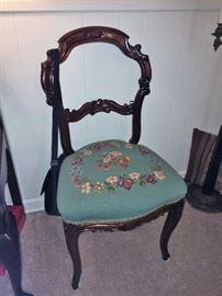 antique chair beautiful  needlepoint