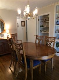 dining room table and 6  chairs     matching china cabinet and server sides lift up also has drawer and storage