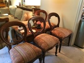 set of four antique Victorian chairs 1880's  upholstered to era