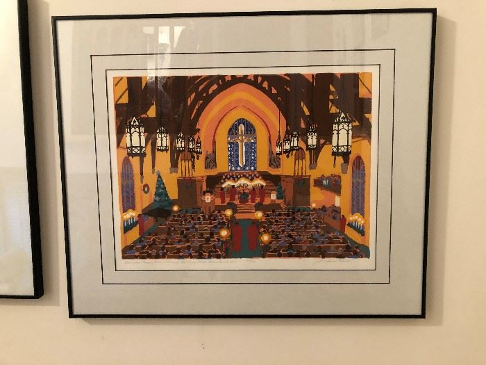 Serigraph of Dundee Presbyterian Church by Judith Welk