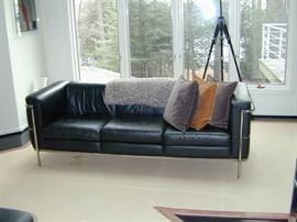 """Jack Cartwright Black Leather & Chrome Sofa - L 79"""", D 29"""". H 26.75"""""""