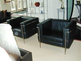 """Pair Jack Cartwright Black Leather & chrome chairs - W 35"""", D 29"""", H 26.75"""""""