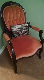 Antique style velvet chair