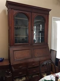 Amazing Antique china cabinet/ bookcase with pull down desk!    8' tall