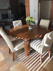 Pottery Barn wood table and fabric chairs