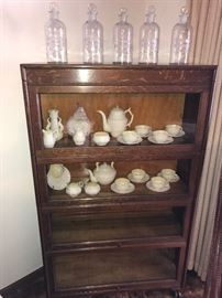 One of two stacking bookcases, Belleek china, Chemists bottles