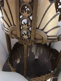 Williamson Chicago signature on Art Deco chandelier