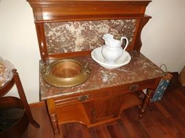 Beautiful walnut marble top server