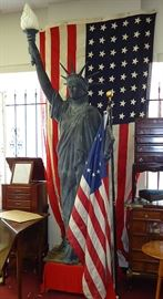 9ft tall outdoor Miss Liberty and many large flags