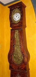 Mobier grandfather clock c 1820 ..Hand painted and inlay work... Works all the way.. Has unique twice chime on the hour..