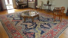 Large Egyptian Hand Knotted area rug, Baker Wood Brass painted  coffee table,