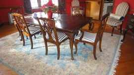 Dining room table, Oriental rug