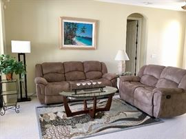 Double Reclining Sofa and LoveSeat