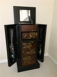 Beautiful Jewelry Armoire. Small amount of jewelry.