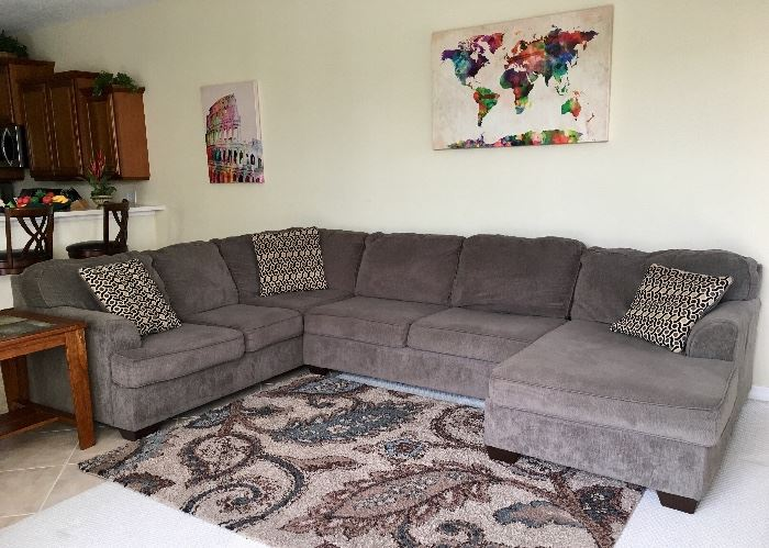 Charcoal Grey Upholstered Sectional