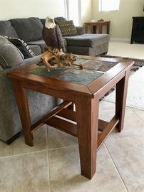 Stone Top End Tables, One of a Pair