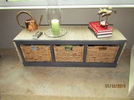 3 BIN STORAGE PIECE THAT CAN BE USED AS A TABLE OR A SET