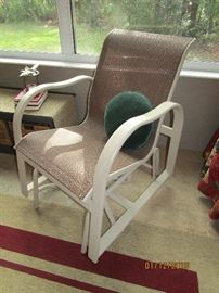 TAN FABRIC WITH WHITE FRAME GLIDER CHAIR