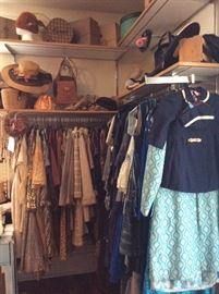 Selection of Brown and Blue Antique and Vintage Fashion Dresses, Shirts, Pants, Suits, Etc