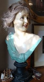 Large French Wax wig Bust/mannequin with glass eyes