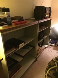 Wood and metal bookcases--several available
