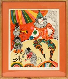 "#1237 - JUDITH BLEDSOE, (AMERICAN, 1938-), LITHOGRAPH, H 20"", W 17"", CAT BAND WITH JESTER"
