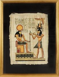 "#1296 - EGYPTIAN PAINTING ON PAPYRUS STYLE PHARAOH AND ATTENDANT, H 17"", W 12"""