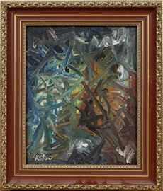 "#2151 - ALBERT KOTIN (RUSSIAN-AMERICAN 1907-1980), OIL ON CANVAS, C. 1965, ""ABSTRACT COMPOSITION"""