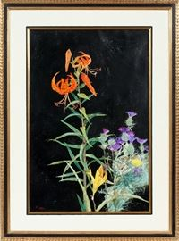 "#2164 - RICHARD JERZY, WATERCOLOR, H 29"", W 19"", FLORAL"