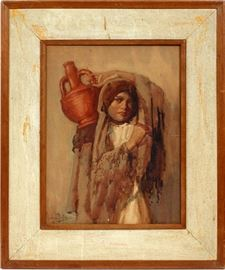 "#2217 - HENRY LEOPOLD RICHTER, WATERCOLOR GIRL WITH WATER JUG H 16"" W 12"""