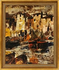 "#2225 - HOYT IMPRESSIONIST OIL ON CANVAS BOATS IN HARBOR H 23"" W 19"""