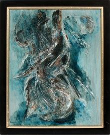 "#2357 - SALLY, MODERN OIL ON CANVAS, FEMALE FORM IN BLUE, H 20"", W 16"""