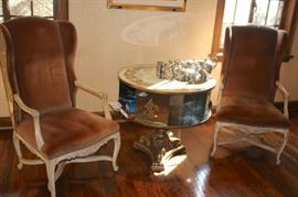 Pair of Wing Chairs and 50's Mirrored Drum/Bookcase Table